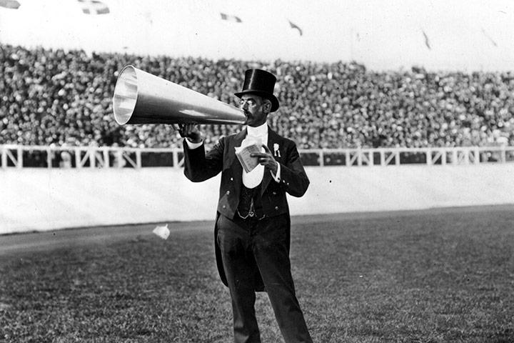 London Olympics 1908: man with a megaphone